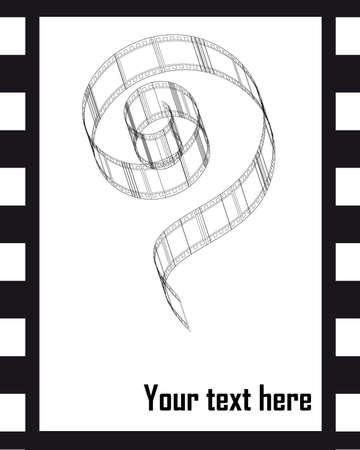 rundown: Black photo isolated films on white background Illustration