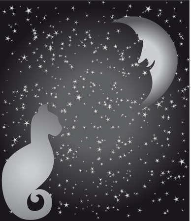 Stars, moon, cat Stock Vector - 5408954