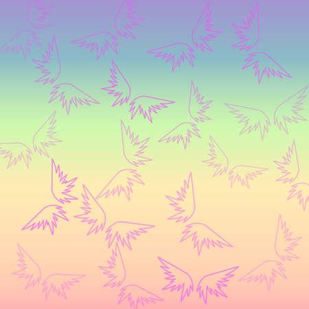 Retro multicolored wings wallpaper Vector