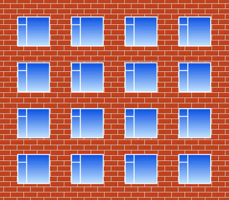 cemented: Brickwall con muchas ventanas