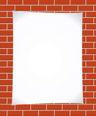cemented: Papel en brickwall  Vectores