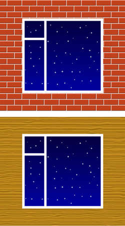 Window with night stars on wall Vector