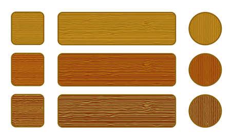 pancarte bois: Ensemble de boutons de bois web Illustration