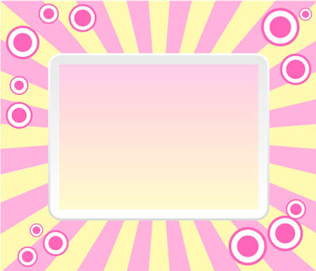 Pink retro frame with circles Illustration