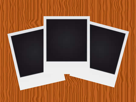 Set of polaroid on wood texture Vector