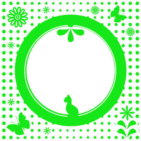 Green natural flower round frame Stock Vector - 5845445
