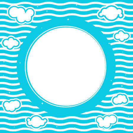 Blue sea round frame Stock Vector - 5845447