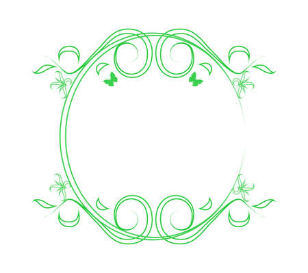 Green frame with flowers Vector