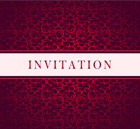 and invites:   Invitation red ornament card Illustration