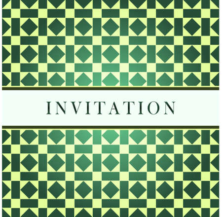 Invitation design green pattern card Vector