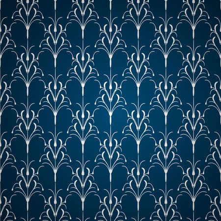 Silver floral ornament on blue background Vector