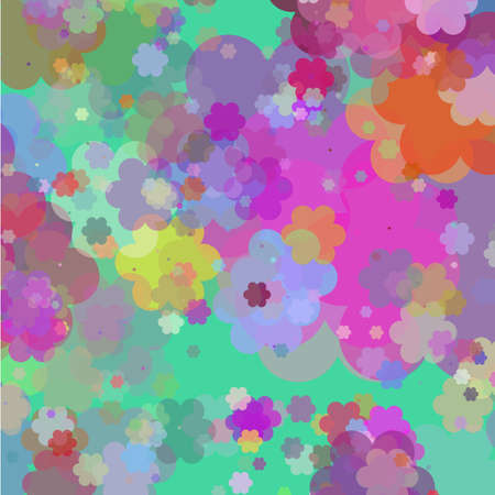 Art pattern with flowers on green background Vector