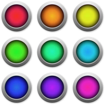 Web buttons multicolored icons on white background photo