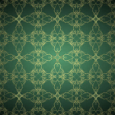 Ornamental green and gold background Stock Photo - 9172775