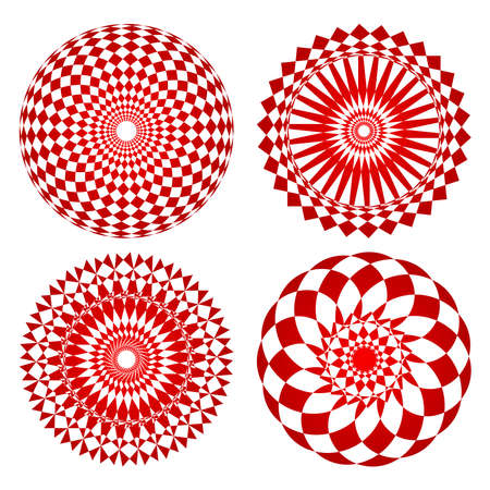 Red spirograph ornament tattoo