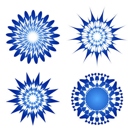 Blue vector spirograph ornament tattoo Illustration