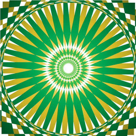 Folklore green and yellow kaleidoscope background Vector