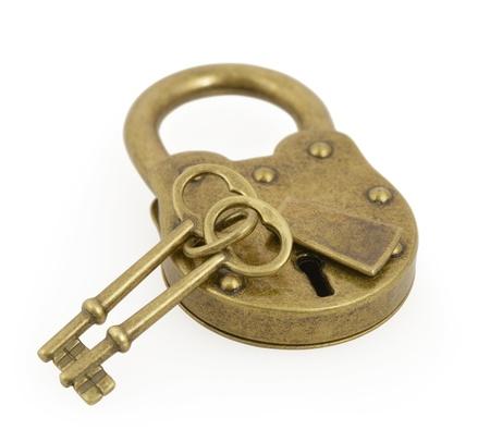 Padlock and two key isolated on white background  photo