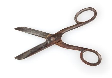 Antique scissors isolated on white background  photo