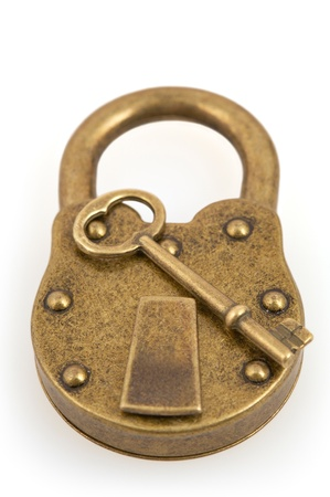 Padlock and key isolated on white background with clipping path photo