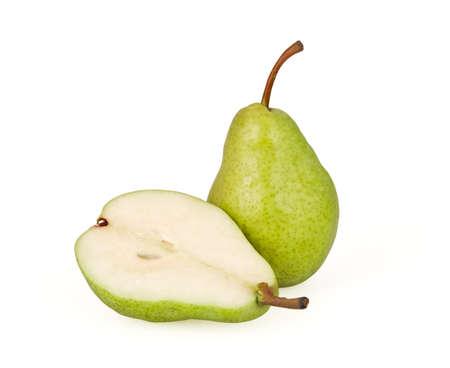 梨: 白の背景に分離された緑の梨