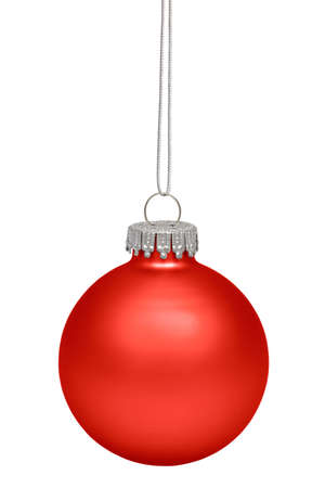 christmas sphere: Red christmas bauble isolated on white background