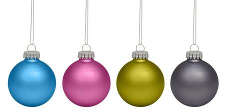 Christmas baubles isolated on white background photo