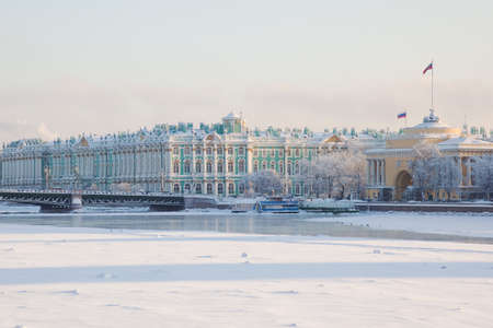 Palace bridge. Neva River. Saint-Petersburg. Russia