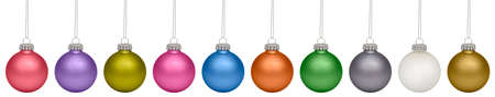 Christmas baubles isolated on white background photo
