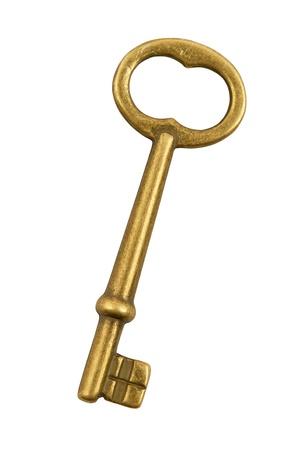 Golden key isolated on white background photo