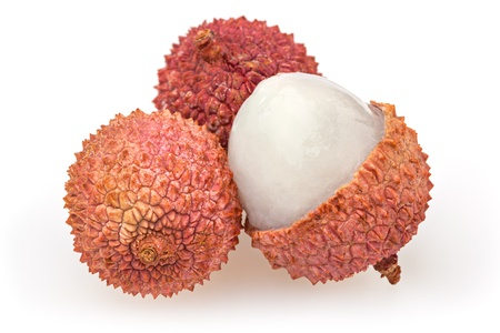 Three lychees isolated on white background photo