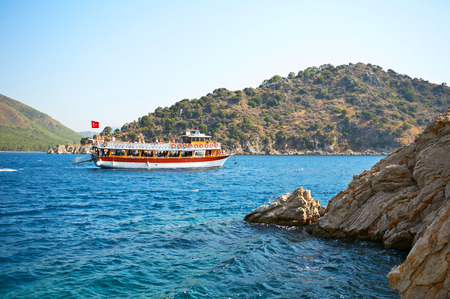 aegean sea: Aegean sea landscape with ship  Turkey  Marmaris