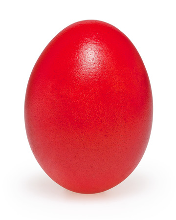 Red easter egg isolated on white background with clipping path photo