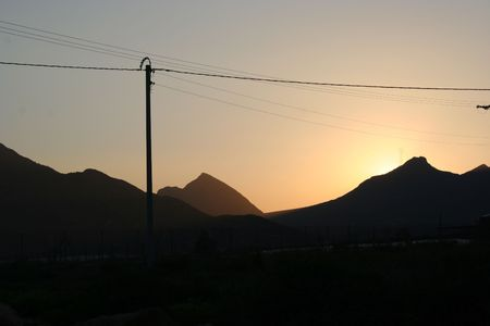 sunset with mountain Stock Photo