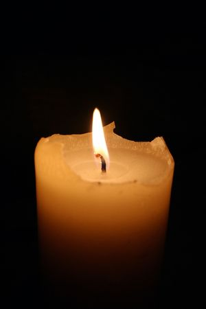 thick candle burning