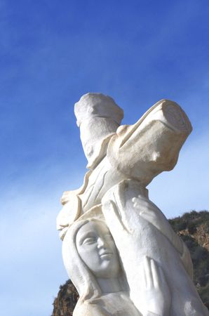 marble angel with cross Stock Photo