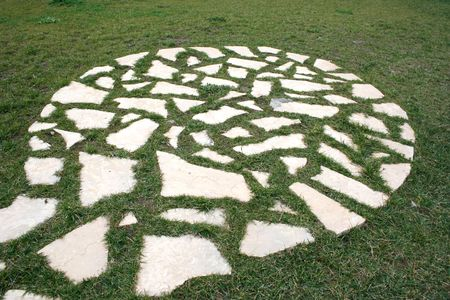 circle of tiles in field