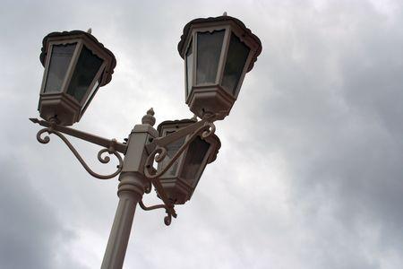 classic white lamposts Stock Photo