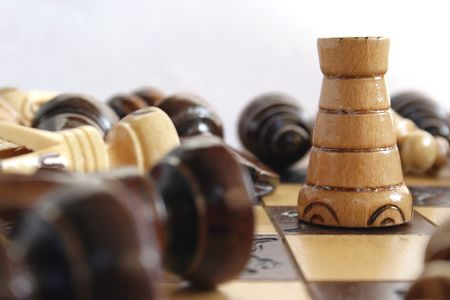 Chess set with only the tower standing