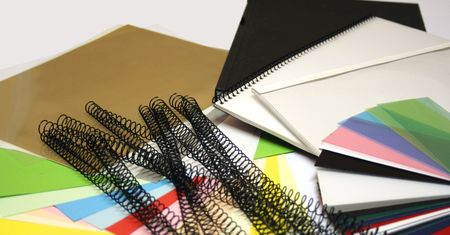 colored paper and binding materials