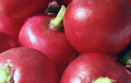 close-up of a lot of red radish photo