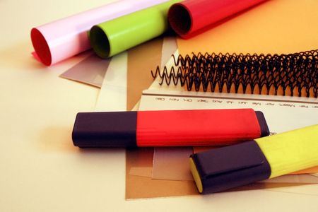 a colourful selection of binding stuff Stock Photo