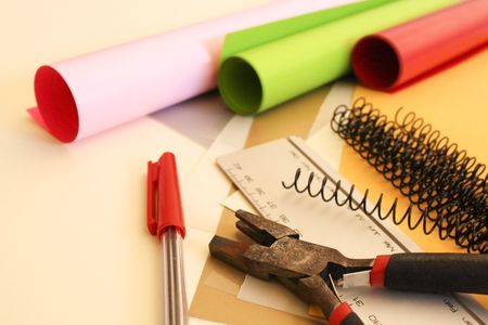 a colourful selection of  creative materials Stock Photo