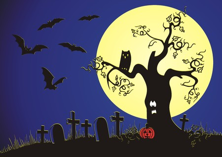 Evil tree against night sky with bats and a pumpkin Stock Vector - 8060110
