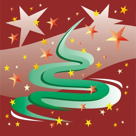 green abstract tree with stars against red background Vector