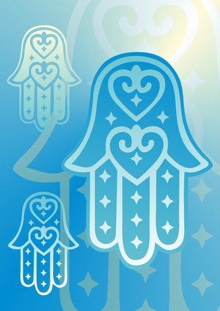 three hands: hand of fatima with heart shapes in blue shades