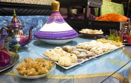 moroccan food and tea photo