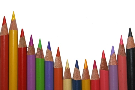 wavy line of color pencils photo