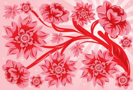 liane: Background flower, vector illustration