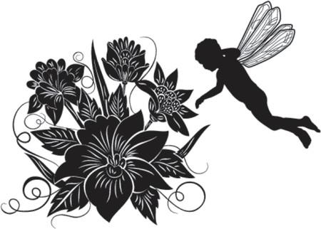 liane: Element for design, flower, silhouette elf, vector illustration